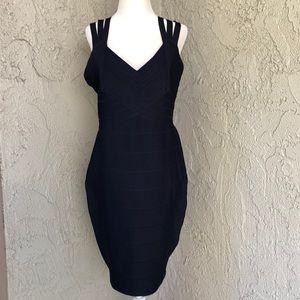 Alice + Olivia Navy Blue Bandage Stretch Dress L